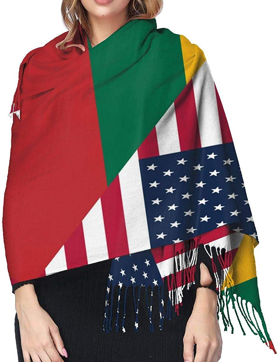 American and Lithuania Flag Cashmere Scarf Shawl Wraps Super Soft Warm Tassel Scarves For Women Office Worker Travel