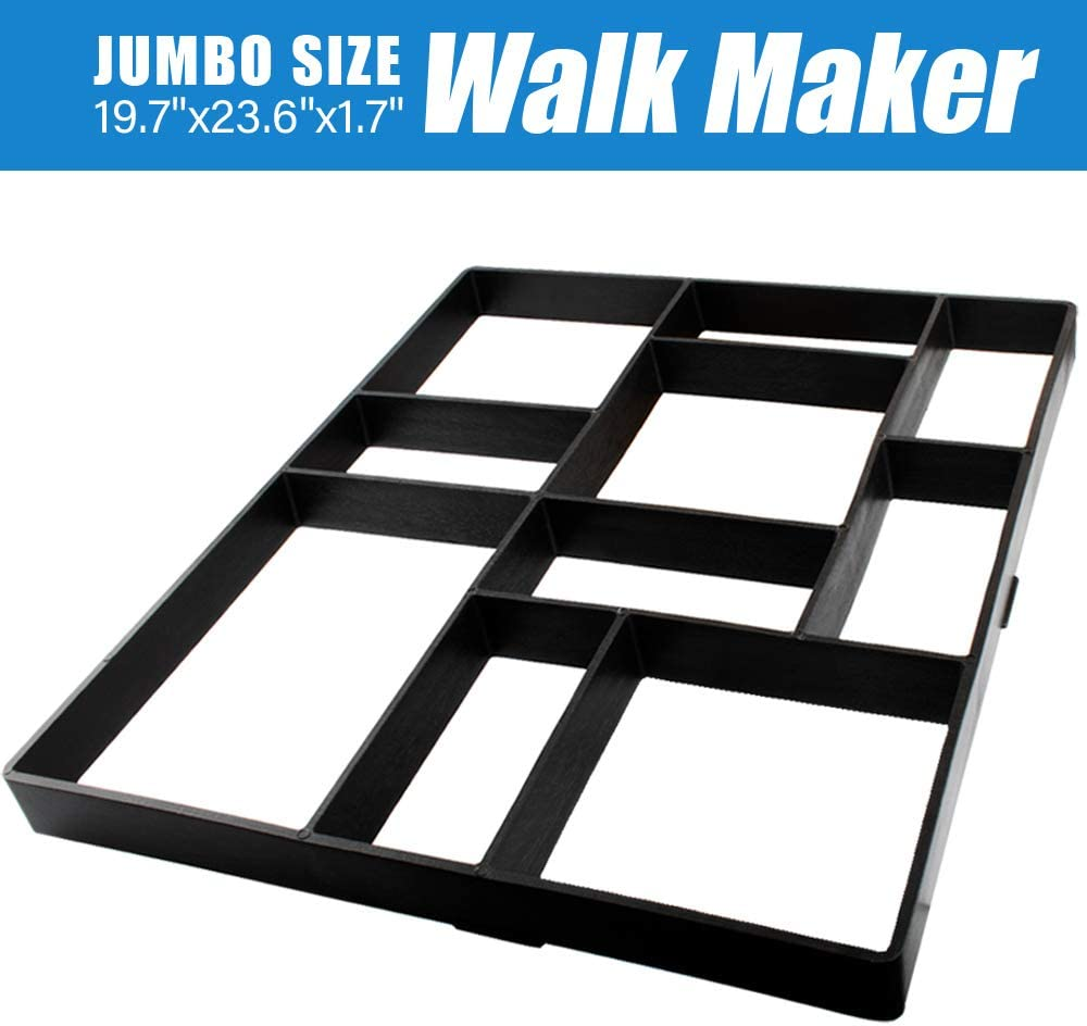"Jumbo Size Walk Maker Reusable Concrete Path Maker Molds Stepping Stone Paver Lawn Patio Yard Garden DIY Walkway Pavement Paving Moulds (10-Grid) (23.6""x19.7""x1.8"")"