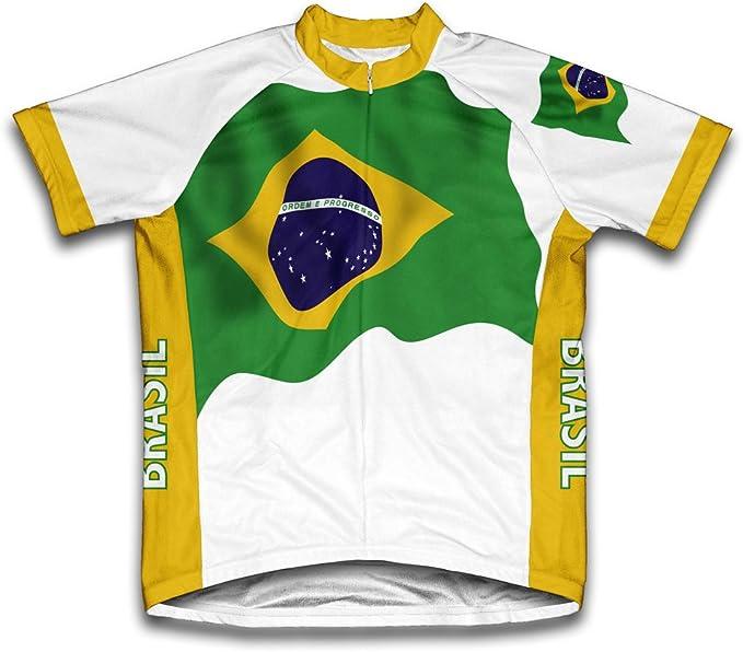 Brasil Bandera Maillot de Ciclismo Manga Corta para Hombre - Talla 2XL: Amazon.es: Deportes y aire libre