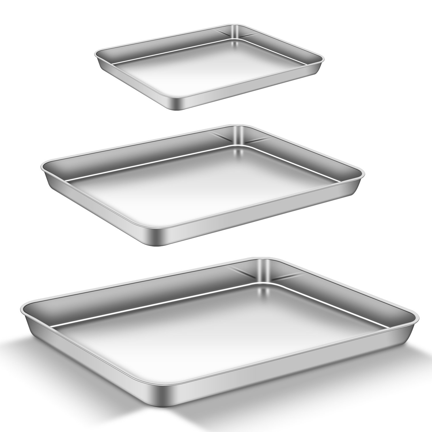 Baking Sheet Set of 3, AEMIAO Stainless Steel 18/0 Baking Pan Bakeware Cookie Sheets Toaster Oven Pan Baking Trays, Healthy & Non Toxic, Mirror Finish & Rust Free,Oven & Dishwasher Safe