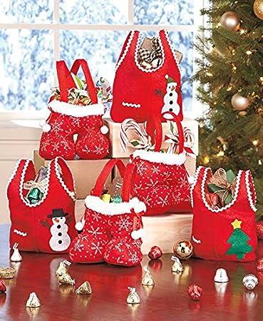 Amazon.com: Holiday Christmas Cloth Gift Bags Set of Six Red: Health ...
