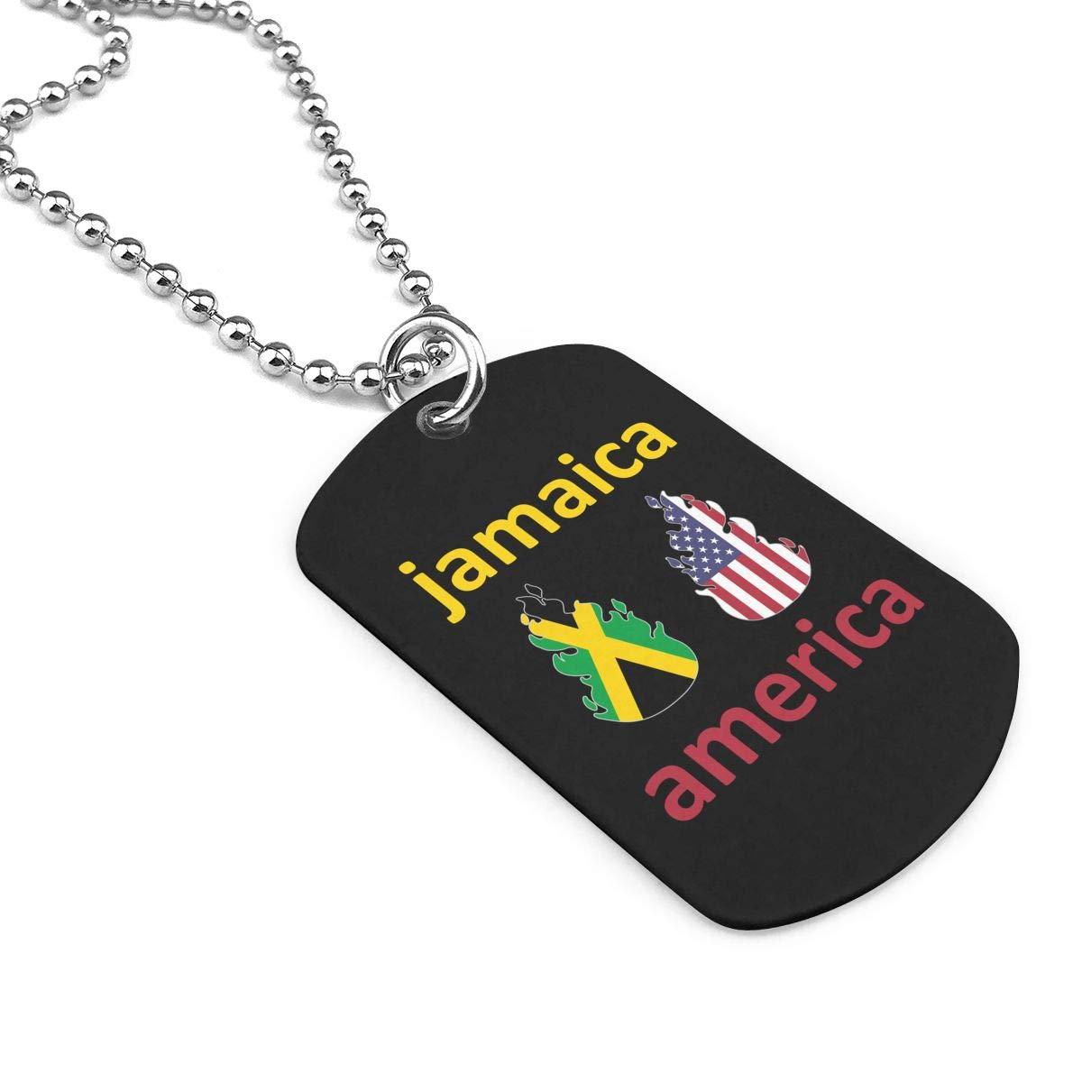 Military Necklace American Jamaica Fire Custom Zinc Alloy Pendant Necklace Dog Tags