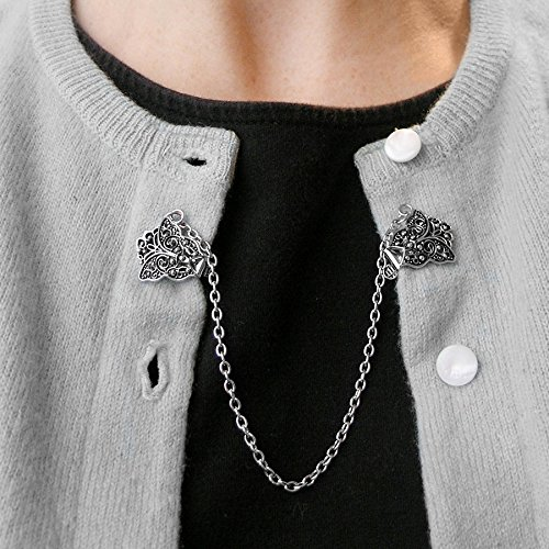 Evelots Vintage Inspired Antiqued Silver Tone Butterfly Sweater or Shawl - Vintage Sweater Clip