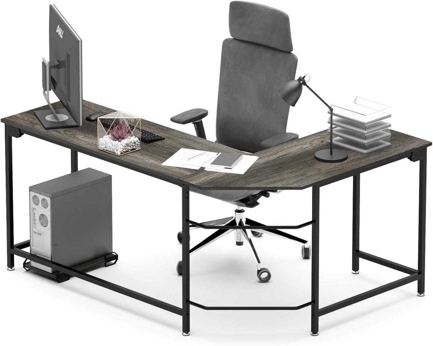 WeeHom L Shaped Desk Corner Gaming Computer Desk Sturdy PC Laptop Table Workstation for Home Office