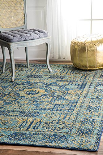 - nuLOOM Traditional Vintage Hannah Sunny Token Area Rugs, 4' x 6', Blue