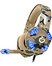 $27 Get VersionTECH. Stereo Gaming Headset for PS4 Xbox One Controller, Noise Reduction Over Ear Headphones with Mic, Bass Surround & LED Lights for Laptop PC Mac PS3 and Nintendo Switch Games - Camo