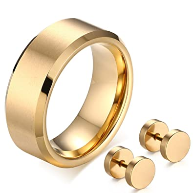 7231a63e0bb11 Amazon.com: ABLES CHIC Men Gold Tungsten Carbide Wedding Ring Matte ...