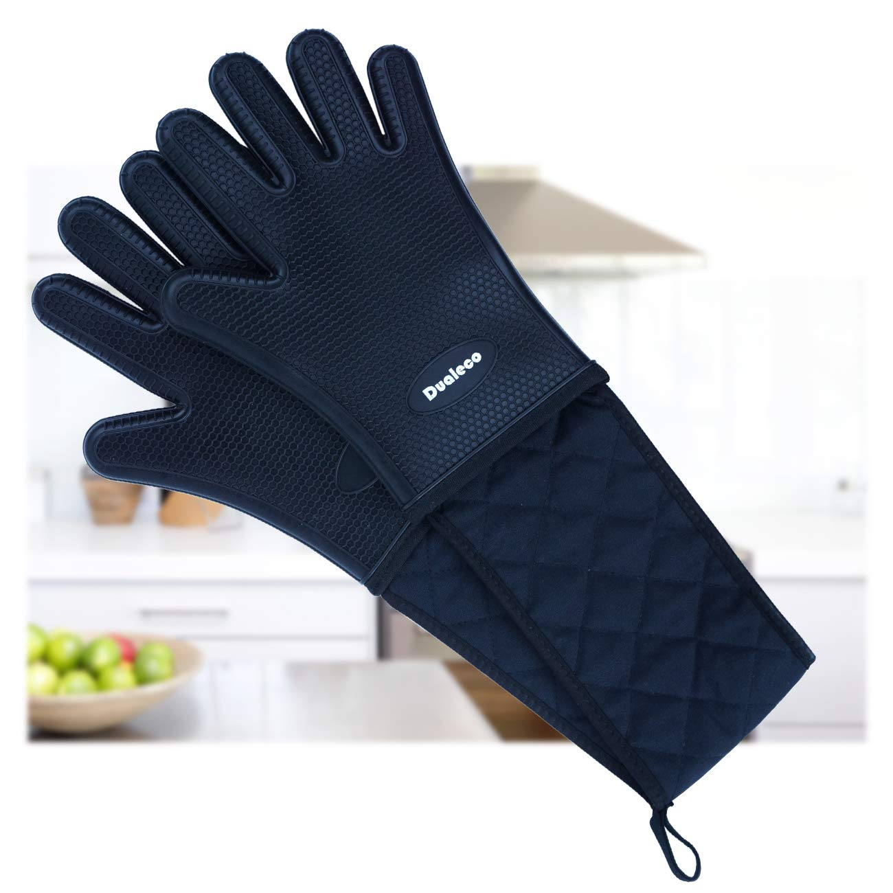 Dualeco Silicone Oven Glove Double, Heat Resistant Oven Glove with Fingers, Long Oven Glove Black for BBQ, Kitchen, Cooking D.E. E-Commerce Ltd.