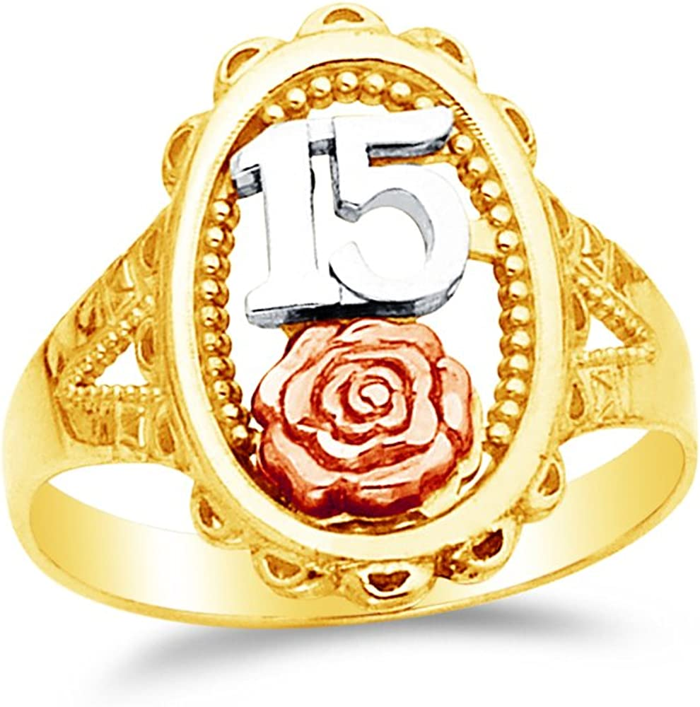 8 Jewel Tie Solid 14k Rose Yellow /& White Gold 15 Years Birthday Flower Ring Size