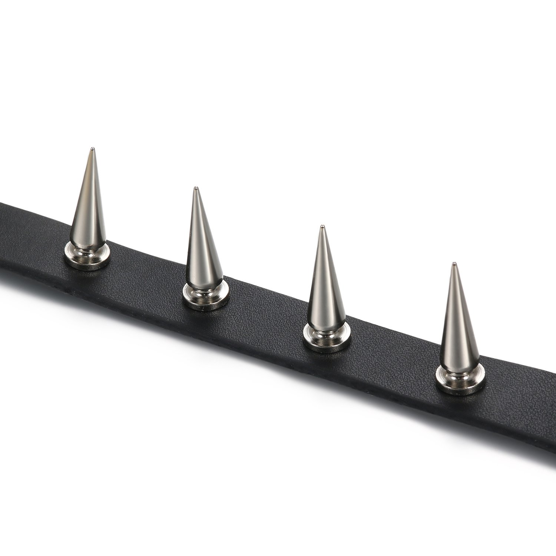 Flongo Gothic Black Rivet Leather Spiked Necklace Neckband Choker [Upgrade Model], Unisex Spike Studded Punk Rock Biker Wide St by Flongo (Image #2)