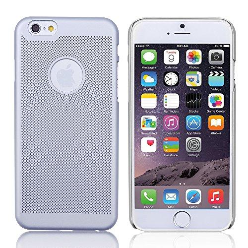 iProtect Premium Schutzhülle Apple iPhone 6, 6s (4,7 Zoll) Hard Case Grid Effect mit Logoaussparung - silber