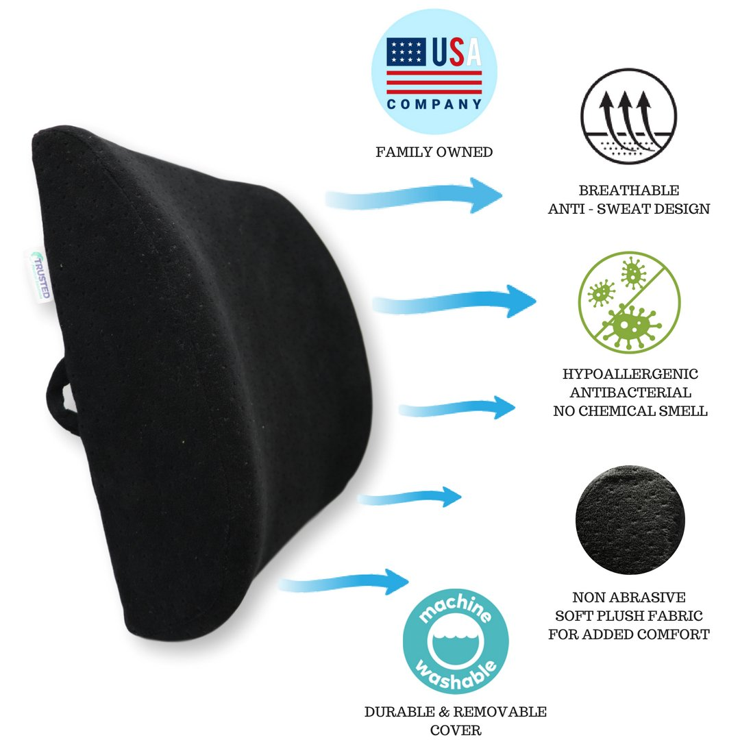 Trusted XL Back Lumbar Support Pillow - ★ Won't Flatten 100% Pure Memory Foam ★ - Posture Cushion Pain Relief for Office, Car, Home, Travel - Removable Attach Anywhere Extendable Straps (Black) by Trusted Medical Solutions (Image #2)