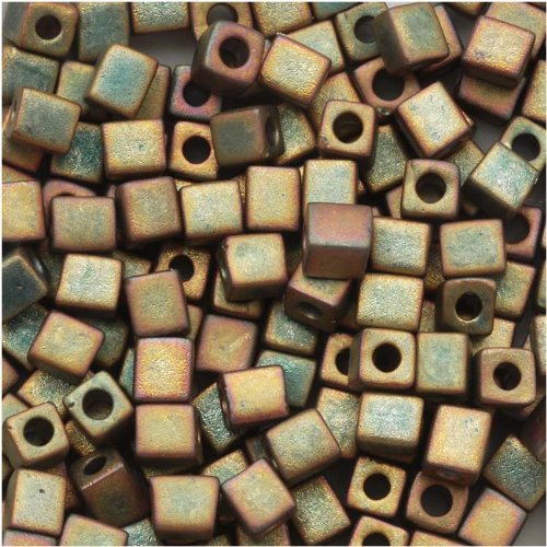 Miyuki 4mm Glass Cube Beads Matte Metallic Khaki Iris #2035 10 Grams