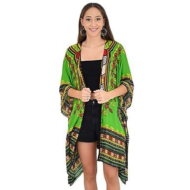 0d1c0df72e7 ISLAND STYLE CLOTHING Ladies Kimono African Dashiki Print Beach Cardigan  Cover-Up (Green Dashiki