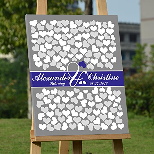 Blue Personalized Canvas (Personalized Guest Book for Wedding Alternative Guestbook Canvas Gray and Royal Blue Guest Book Wedding Personalized Wedding Present Wedding Wall Art Frame Ready to Hang on the Wall 150 Hearts Sign In)