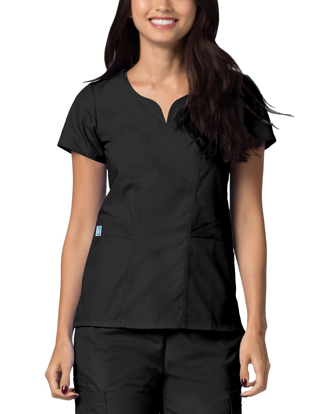 Adar Universal Curved Pocket Glamour Scrub Top - 2632 - Black - S by ADAR UNIFORMS