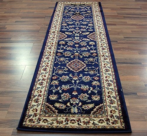 Extra Large Classic Oriental Persian Style Floral Traditional Rug Runner / Mat, Navy Blue - 67 x 300cm by eRugs