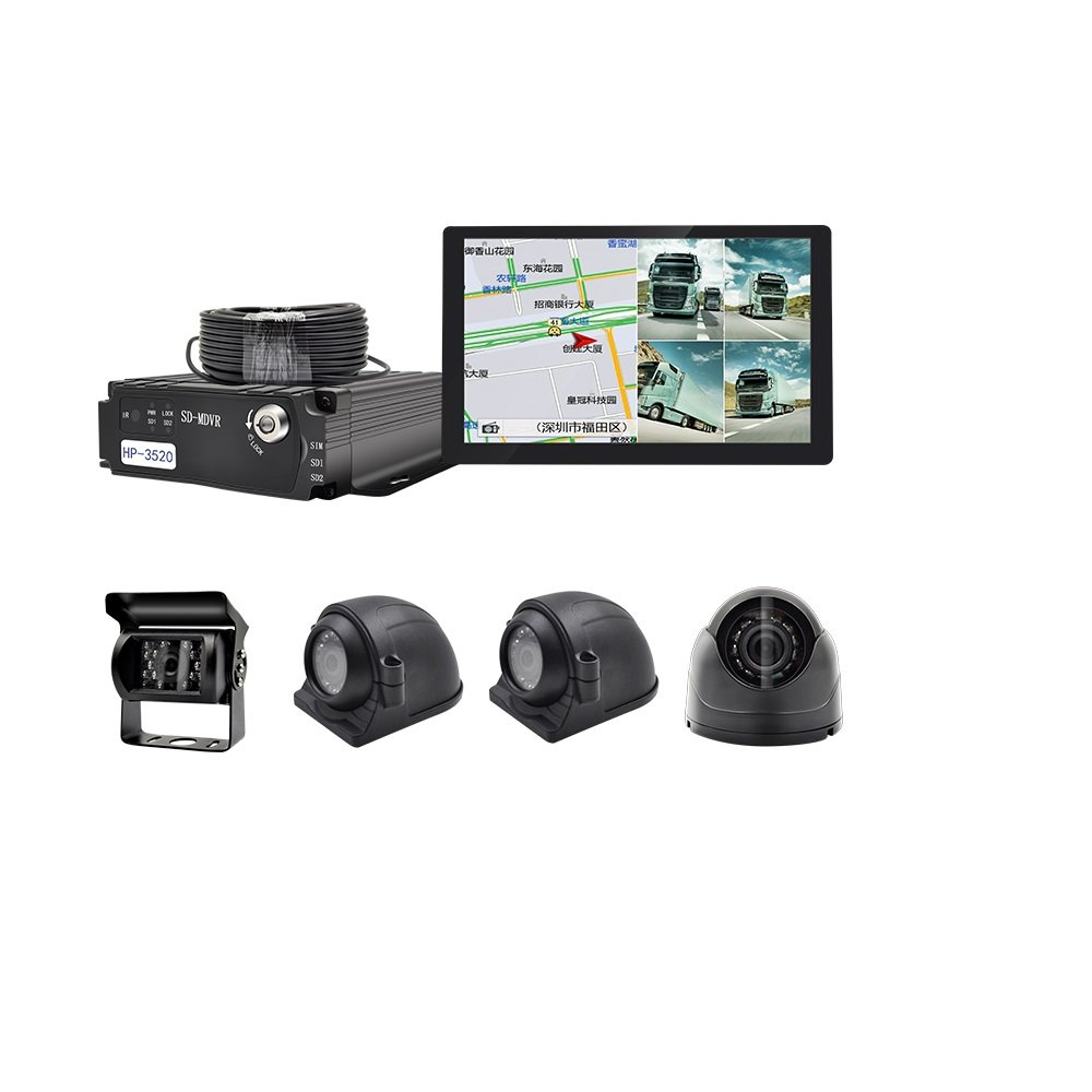 WeniChen 4 Channel Panoramic MDVR kit for Bus Truck Trailer - 960P 4CH SD Card Mobile DVR Video Recorder + 4x 720P Front Side Rear View Cameras + 9'' Touch Monitor with GPS Navigation + 4pcs Cables