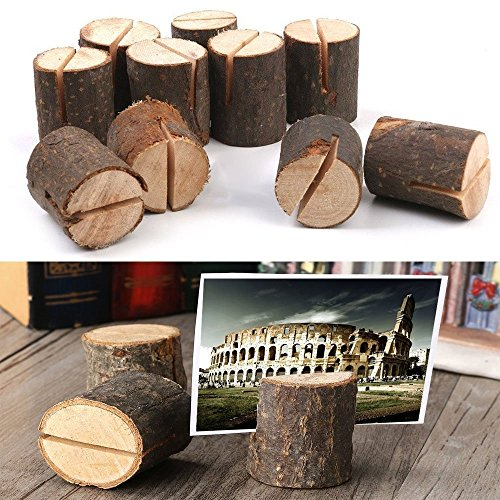 Dproptel Rustic Real Wood Base Wedding Table Name Number Holder Party Decoration Card Holders Picture Memo Clip Note Photo Clip Holder - 30 PCS Pack by Dproptel (Image #2)