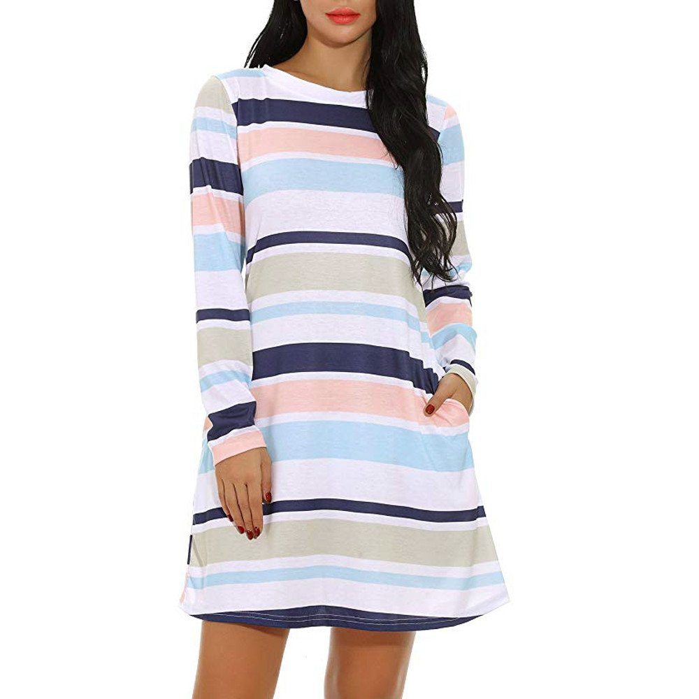 Libermall Women's Dresses Color Block Striped Pockets Long Sleeve Beach Sundress Daily Club Mini Dress Green