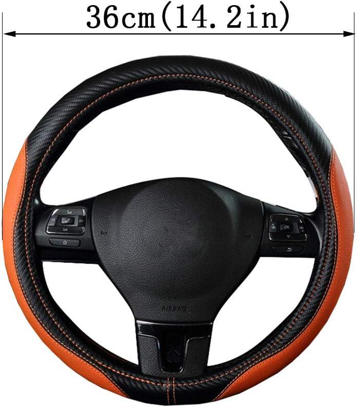 ,36cm Schwarz Orange Geflochtenes Leder Auto Lenkradbezug atmungsaktiv Anti-Slip f/ür Scania R P und S SUV Bus RV LKW Bagger Bulldozer Kran