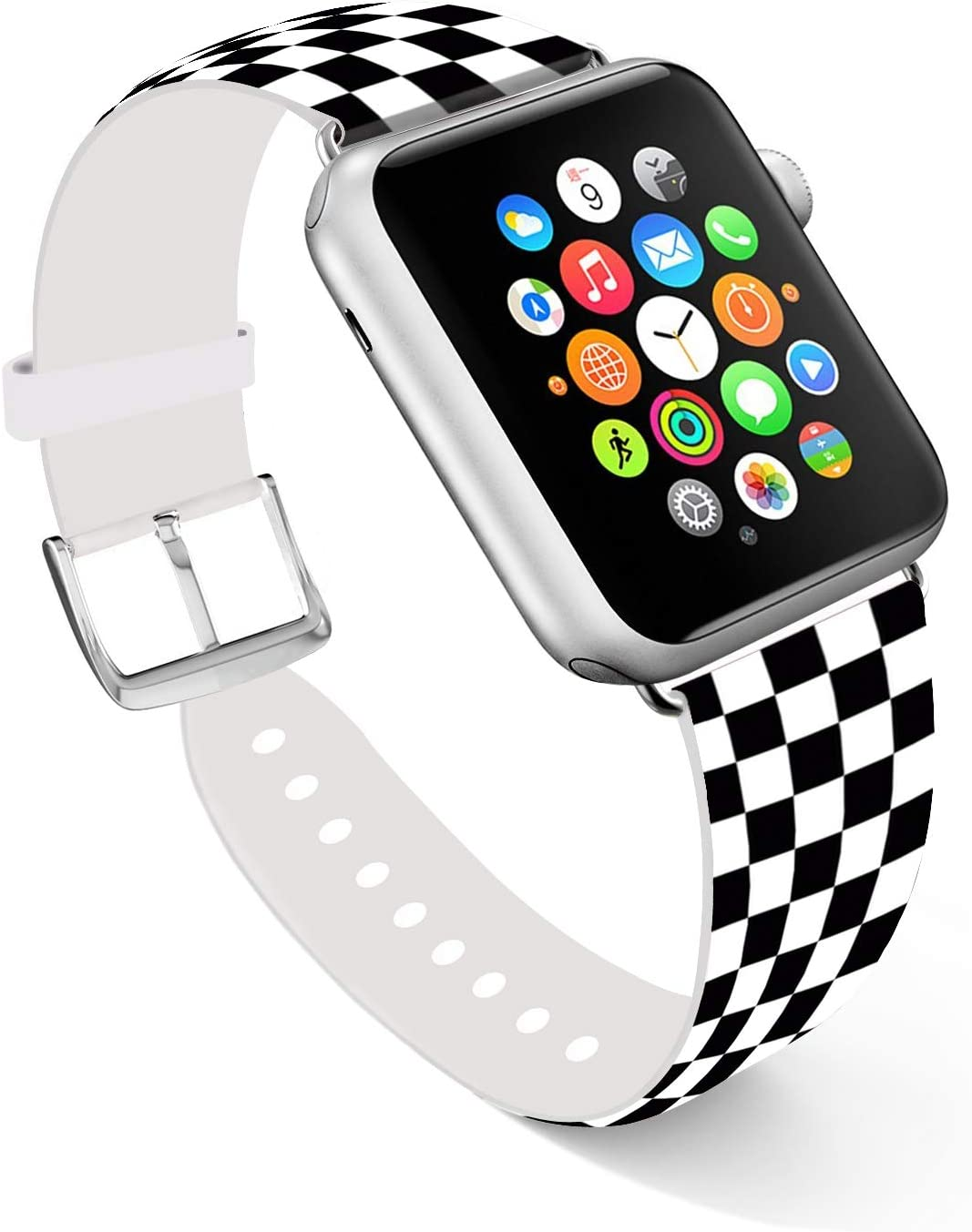 Ecute Compatible with Apple Watch Band 44mm 42mm, Soft Leather Band Strap Compatible with iWatch Series 6/5/4/3/2/1 44mm 42mm - Black and White Checkered