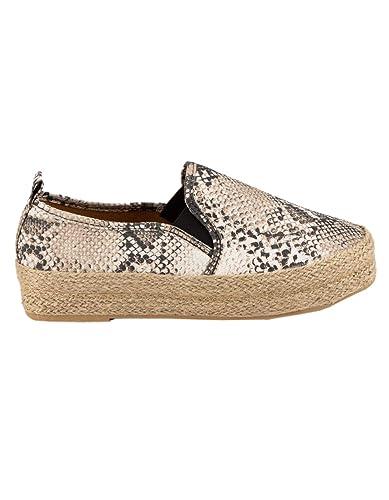 9eb3b2091467c Amazon.com | Qupid Raymond Beige Espadrille Flatform Slip-On Shoes ...