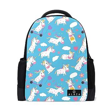 40e894743349 Amazon.com | Blue Cute Fashion Unicorn Lightweight School Backpack ...