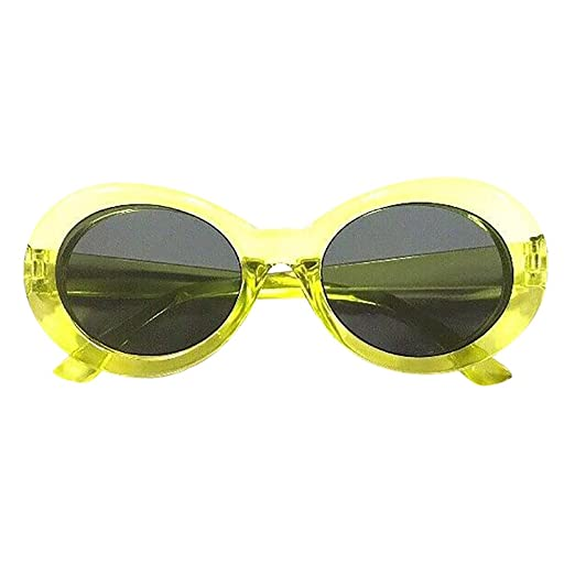 63a532859bfa Image Unavailable. Image not available for. Color  Retro Vintage Clout  Goggles Unisex Sunglasses Rapper Oval Shades Grunge Glasses