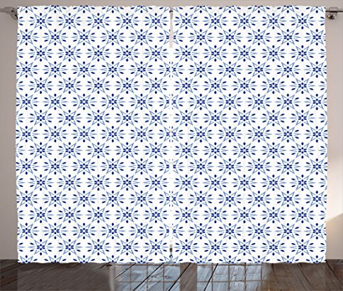 Ambesonne Floral Curtains, Circles with Floral Nature Details in Hexagonal Order and Blue Tones Print, Living Room Bedroom Window Drapes 2 Panel Set, 108 W X 90 L Inches, Violet Blue White For Sale