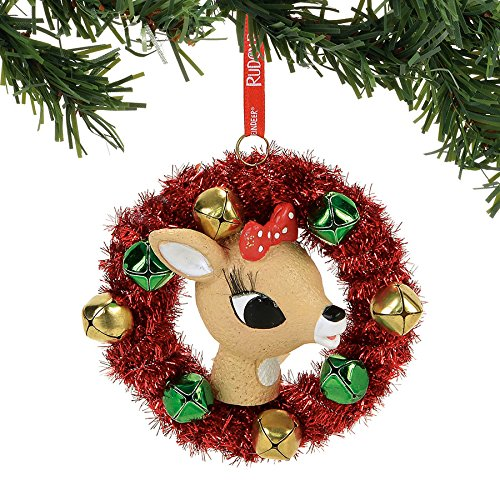 Department 56 Rudolph the Red-Nosed Reindeer Clarice in a Wreath Hanging Ornament ()