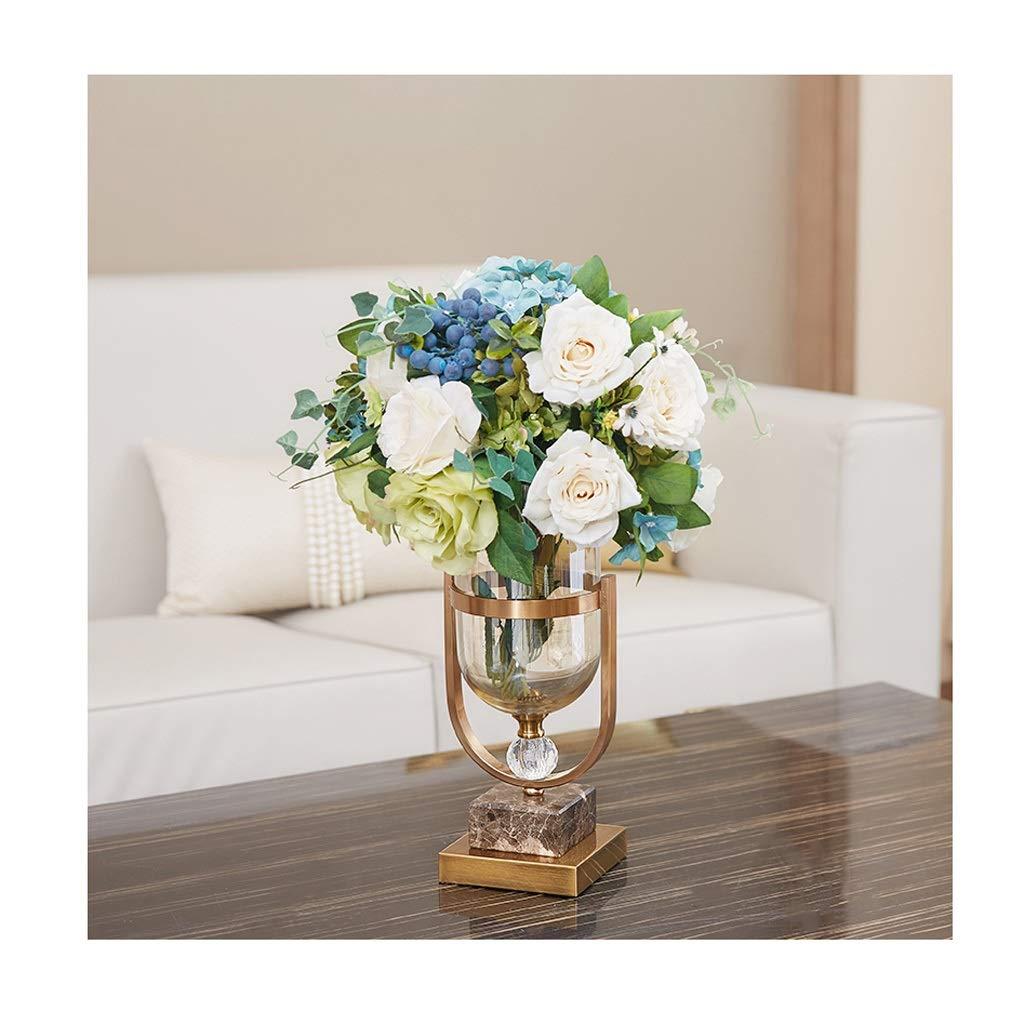 ガラス花瓶 人工ブーケアレンジメントブライダルウェディングブーケホームオフィス花瓶飾り B07T4G56JL