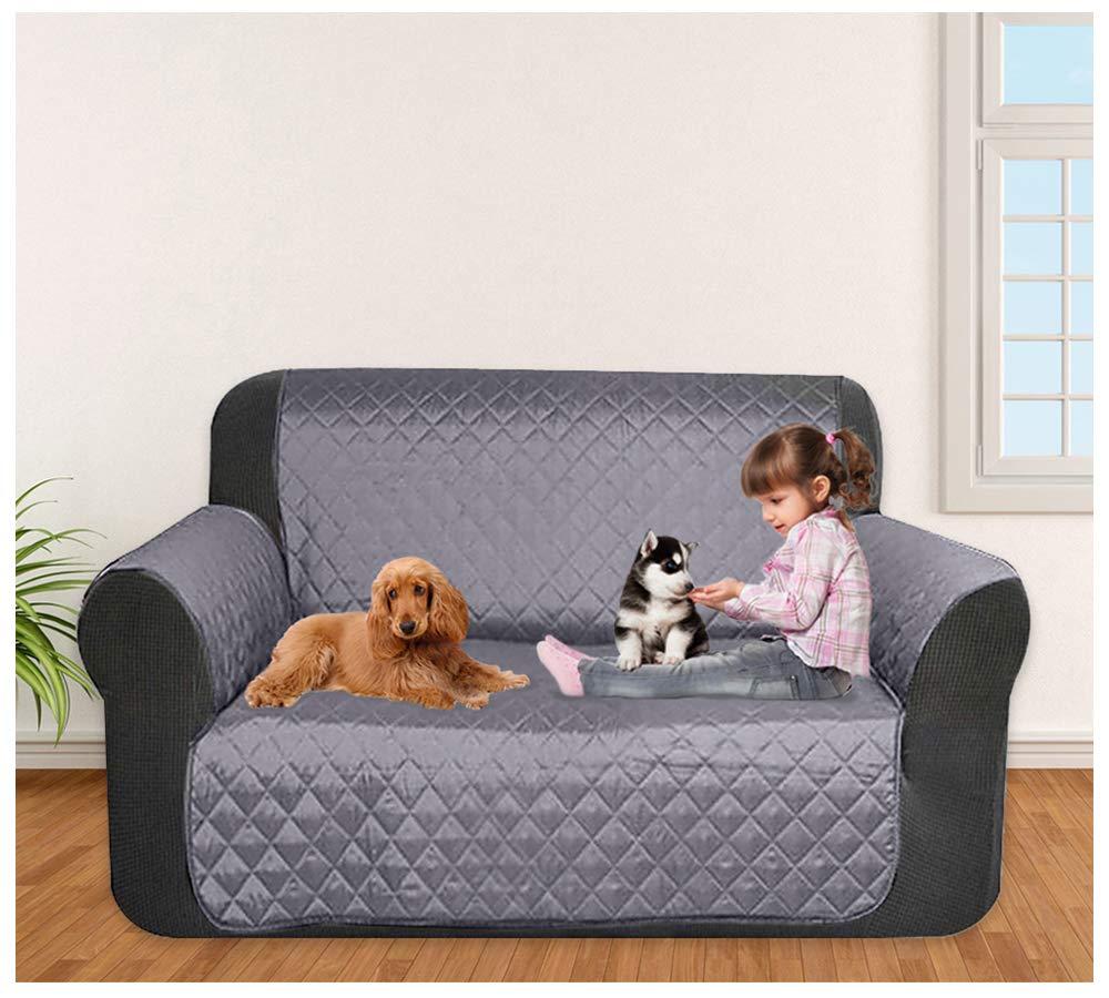 laamei Cubre para Sofá de 2 Plazas con Reposabrazos Antideslizante Protector para Sofás Muebles Acolchado contra Mascotas, Polvo y Manchas (2 Plazas, ...