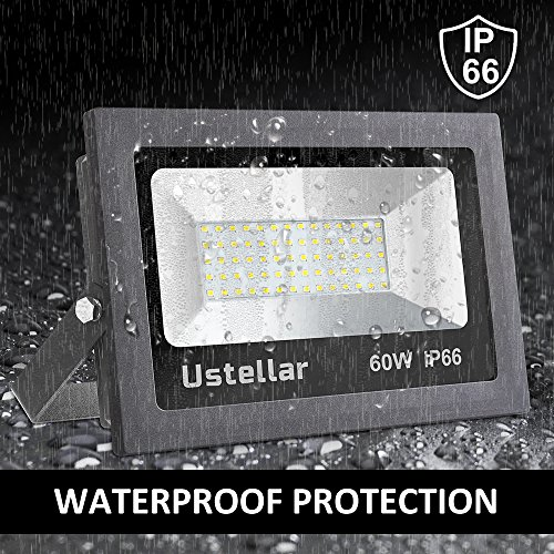 Ustellar 2 Pack 60W LED Flood Light, IP66 Waterproof, 4800lm, 300W Halogen Bulb Equivalent Outdoor Super Bright Security Lights, 5000K Daylight White, Floodlight Landscape Wall Lights by Ustellar (Image #3)