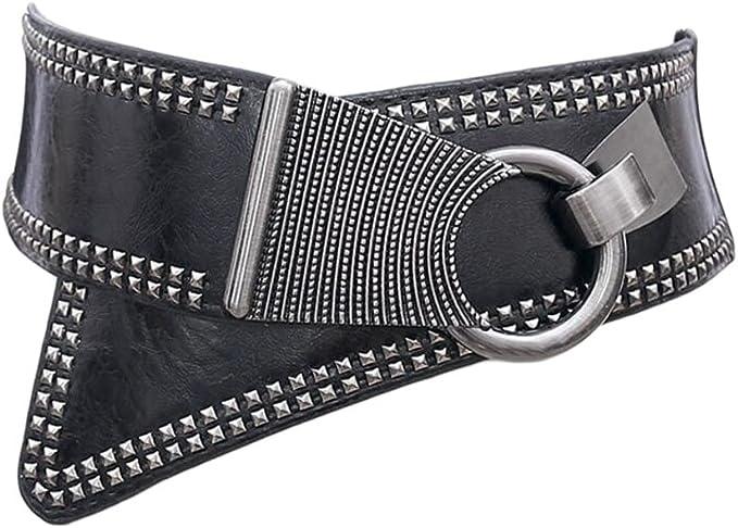 Cinturon rockero punk mujer elástico con remaches