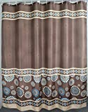 Welwo Shower Curtains Sets Paisley Standard Size Shower Curtain 72 x 72 Inches Bathroom Bath Shower Curtain, Brown or Coffee