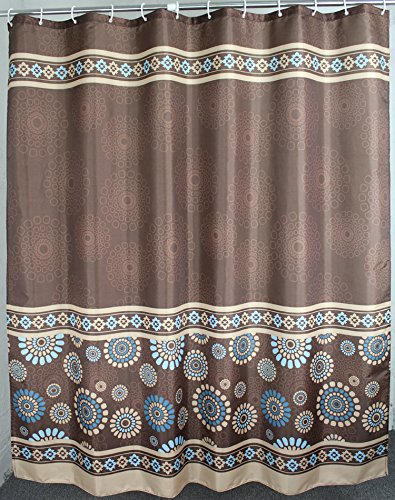 Welwo 78 x 78-Inch Paisley / Polyester Shower Curtain Set, Brown Coffee