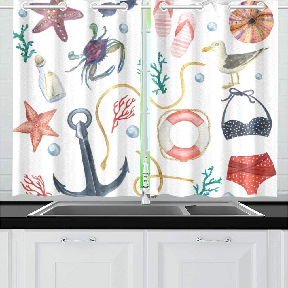 N A Marine Ocean Sea Life Kitchen Curtains Window Curtain Tiers For Cafe Bath Laundry Living Room Bedroom 26x39inch 2pieces Amazon Co Uk Kitchen Home