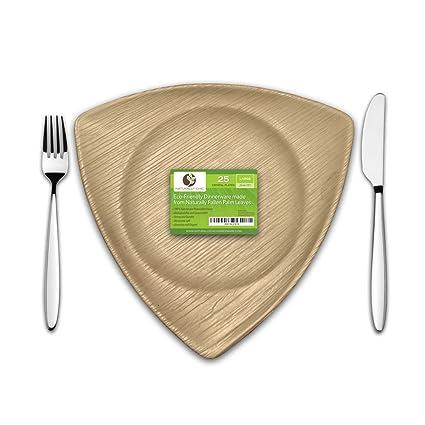 10\u0026quot; Crystal Disposable Palm Leaf Paper Plates Compostable Biodegradable Heavy Duty Dinner Party  sc 1 st  Amazon.com & Amazon.com: 10\