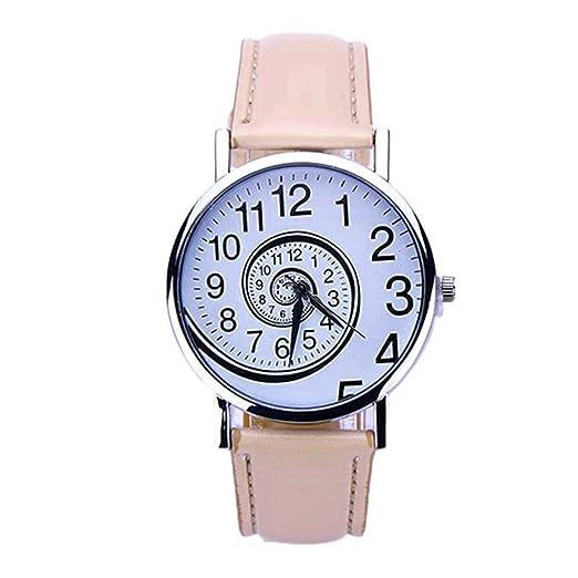 SKY Mujer Agitar gráfico de reloj del cuero Swirl Pattern Leather Analog Quartz Wrist Watch (marrón): Amazon.es: Relojes