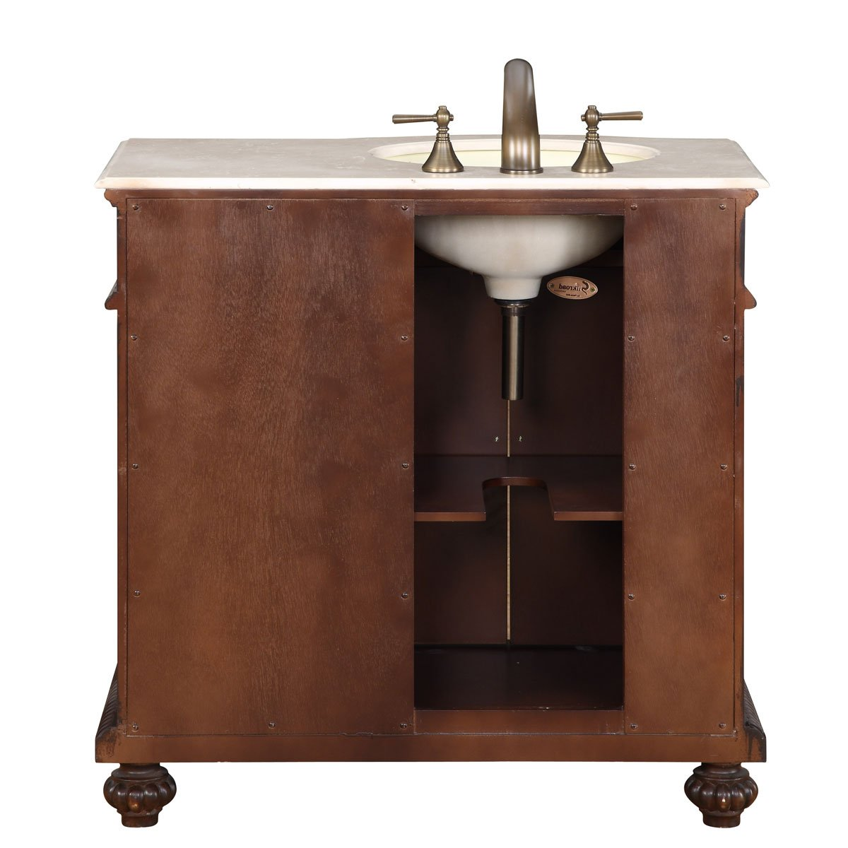 amazoncom silkroad exclusive marble top single left sink bathroom vanity with furniture cabinet 36inch home u0026 kitchen