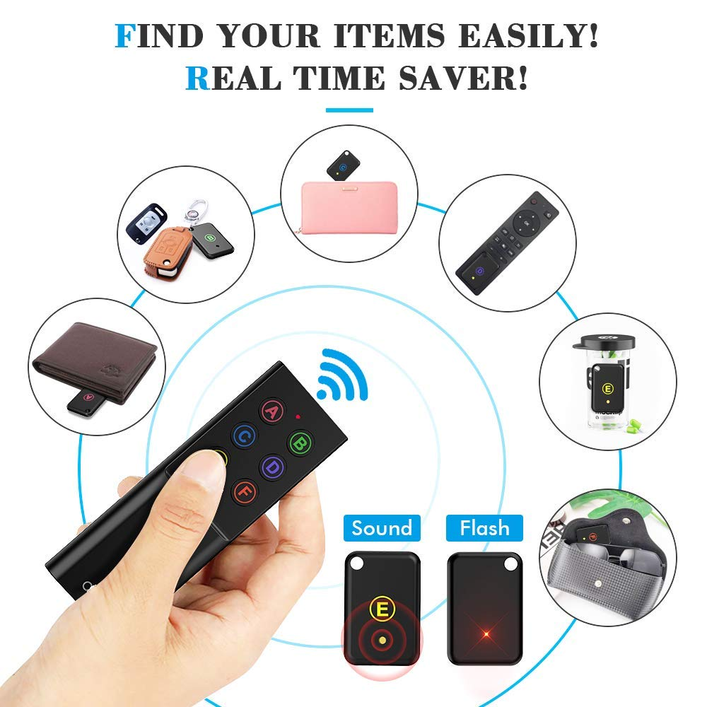 Key Finder, AOJI Mini Item Tracker Wireless RF Locator, 80dB Sound Beep, 100ft Work Range, Red Indicator, 2 Extra Batteries