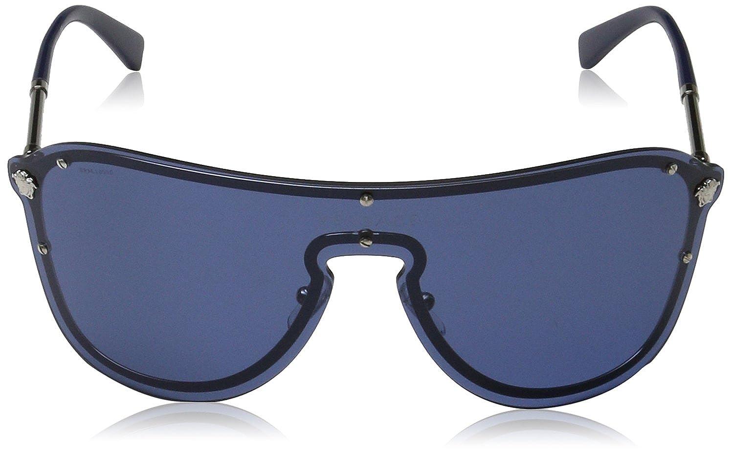 76b45a421d Amazon.com  Versace Sunglasses Silver Blue Metal - Non-Polarized - 44mm   Versace  Clothing
