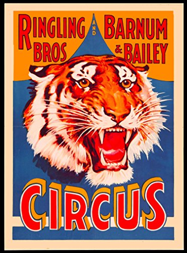 Ringling Brothers & Barnum & Bailey Circus Tiger The Greatest Show on Earth Vintage Circus Travel Home Collectible Wall Decor Advertisement Art Poster Print 2. Measures 10 x 13.5 ()