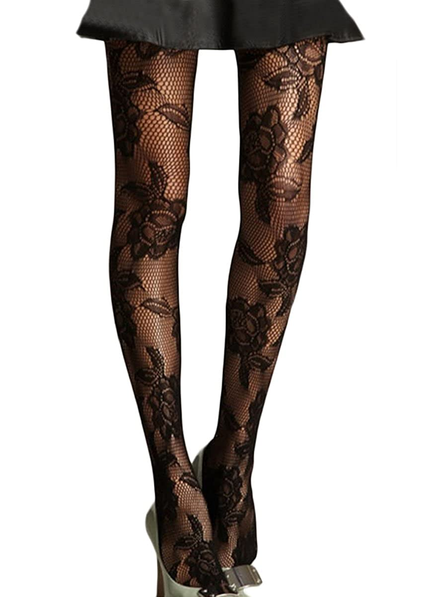 Womens Black Rose Floral Patterned Fishnet Tights/Fashion Pantyhose