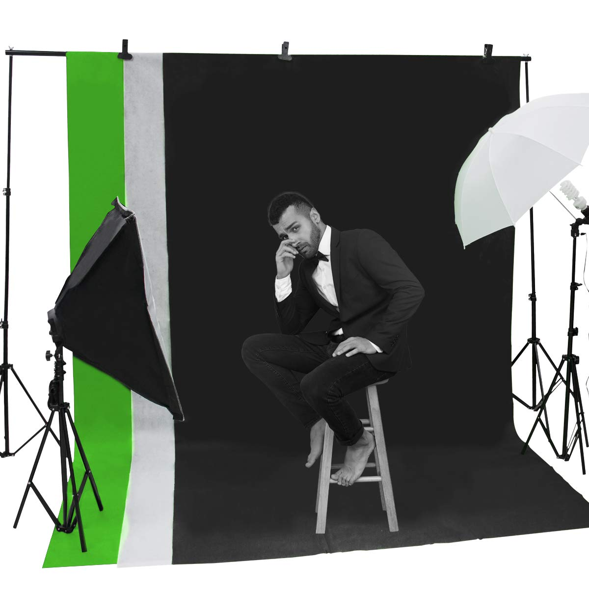 Wisamic Photography Video Studio Lighting Kit, Background Support System 10ft x 6.6ft/2MX3M with 3 Color Backdrop, 3 Umbrella, 3 Softbox, Continuous Lighting Kit for Photo Video Shooting Photography by Wisamic (Image #9)