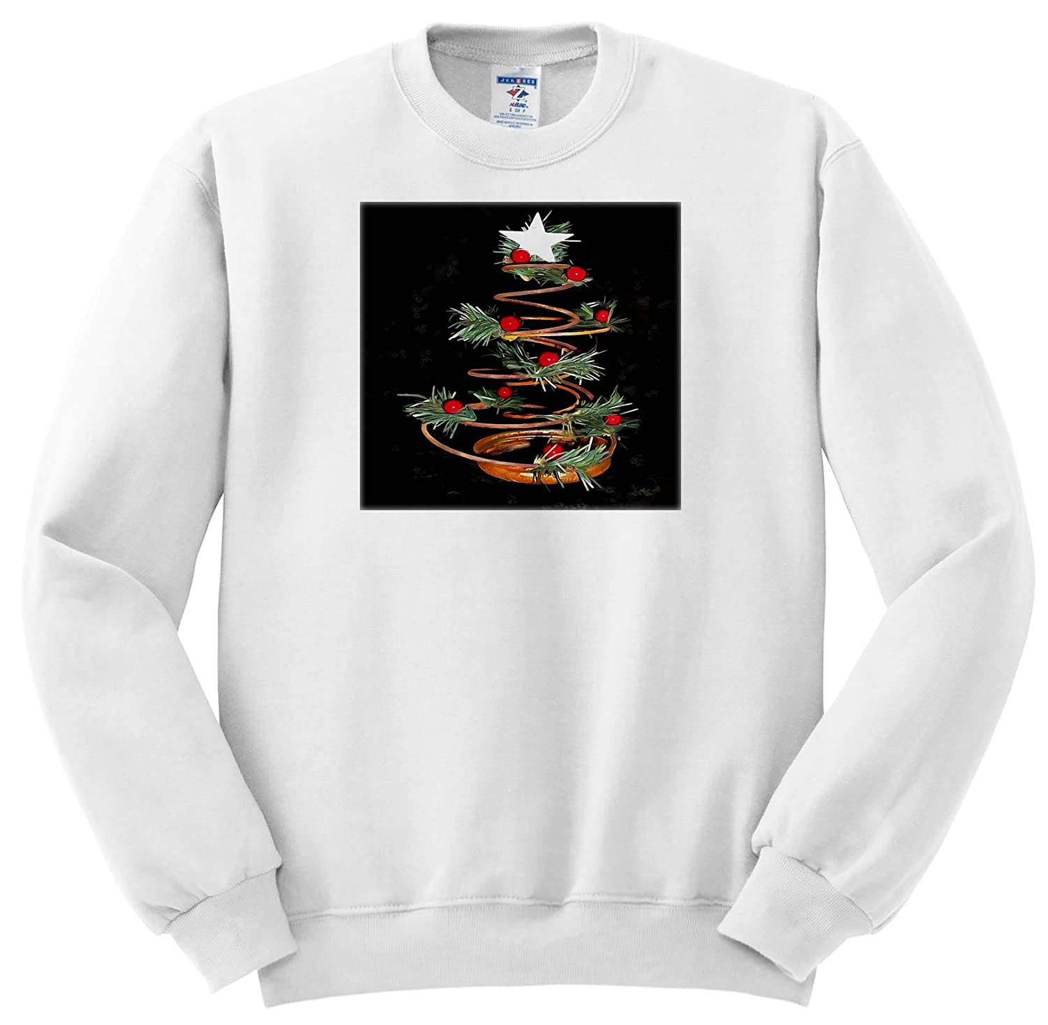 Acrylic Painting Coiled Spring Bespoke Christmas Tree Isolated On Black T-Shirts Stylized Xmas Tree 3dRose Taiche