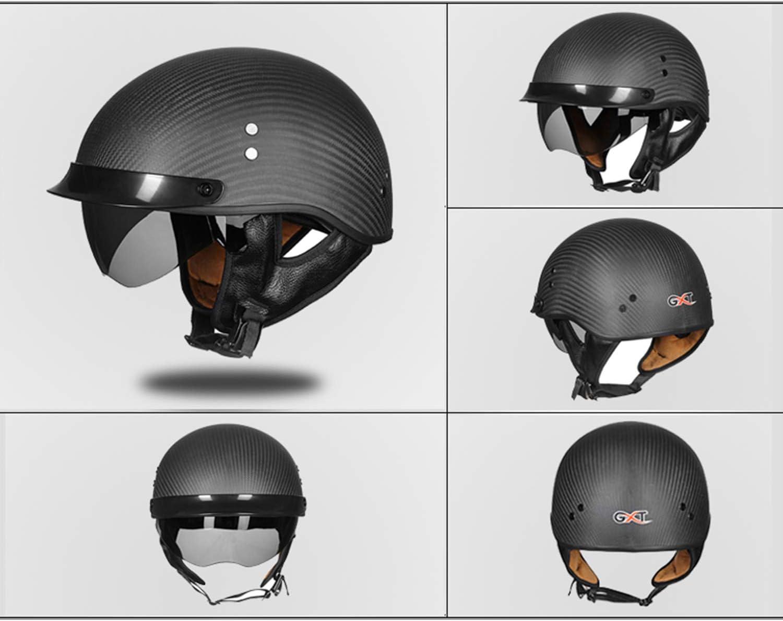 Casco para Motocicleta Harley para Adultos/Seguridad de Fibra de Carbono contra el agrietamiento/certificación Dot/para Scooter y competición ATV (M, L, XL, XXL),Gray,XXL