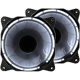 uphere fantastic 120-LED Ventola di Raffreddamento da 120 mm,bianca (Confezione Doppia),3 pin