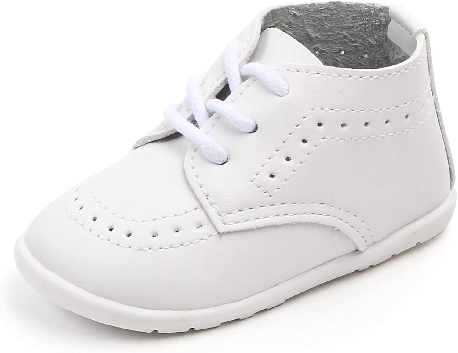 Quernn Boys Girls Lace Up Shoes, Comfortable First Walking Oxford Shoes, Baby Boy Dress Shoes,(Classic Black/White)